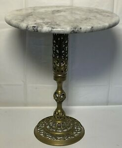 Hollywood Regency Marble Top Table Italian Round Stand Reticulated Brass Base
