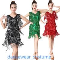 Ladies Party Ballroom Latin Tango Salsa Dance Dress Sequins Fringe Tassels Skirt