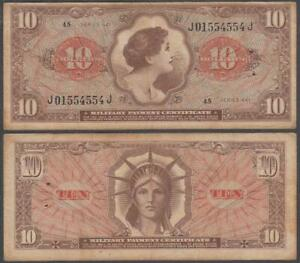 MPC Series 641, 10 Dollars, ND (1965), VF+++ (stapleholes at right), P-M63
