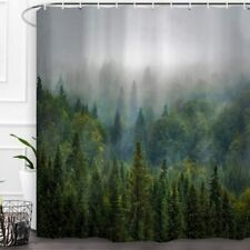 Green Gray Mist Pine Tree Forest Landscape Mountain Nature Fabric Shower Curtain
