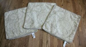 Lot of 3 Pottery Barn Bernadette Linen Embroidered Pillow Covers  22x 22 Beige