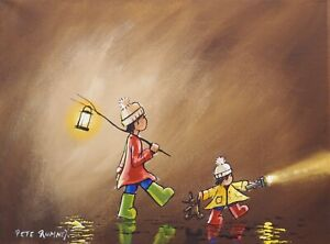 Pete Rumney Art Hand Painted Canvas Brothers On Adventures Torch Lamplight Fun
