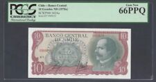 "CHILE 10 Escudos 1970 Pick# 142Aa PCGS: 66 PPQ ""Gem New""(#945)"