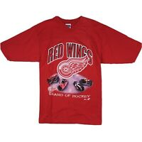 VTG 90s Detroit Red Wings Brand of Hockey T-Shirt NHL Sport Attack Sz L