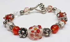 A68) Pretty Red & White Glass & Silver-tone Beaded Bracelet w/ Toggle Clasp