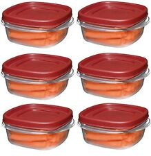 Rubbermaid 1776401 1 1/4 Cup Easy Find Lid Food Storage Container Square Pack 6