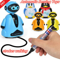 Mini Magic Toy Inductive Vehicles Kids Car Toy Pen Draw Lines Penguin Truck