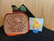 "PUMPKIN SHAPED PLAQUE 6.5"" Orange Metal GIVE THANKS WITH A GRATEFUL HEART"