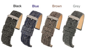 Tweed & Leather  Watch Straps - Supreme Quality in 4 colours & 3 sizes
