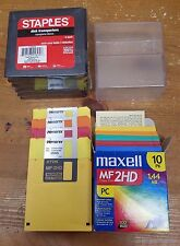 Lot of 14 Floppy discs Maxwell mf 2HD Memorex 2SHD TDK and cases - Nice Vintage