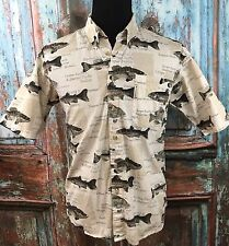 Columbia Fish Shirt Men's M Button Front Collared Casual Short Sleeve White