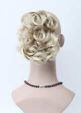 Light Blonde Mix Short Curly Wavy claw clip ponytail Daily Hair Extensions