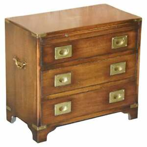 HARRODS KENNEDY MILITARY CAMPAIGN BACHELORS CHEST OF DRAWERS MAHOGANY SIDE TABLE