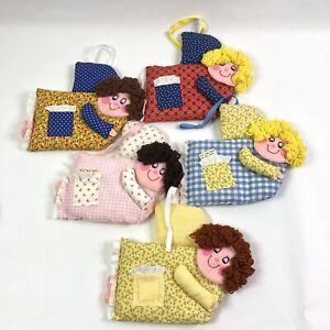 Set of 5 Handmade Smiling Angel Tooth Fairy Pillows Homemade Keepsake Vintage