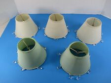 """5 Vintage Style Shades 3 Cream 2 Sage Green Beads Clip On 4 1/4"""" VS3"""