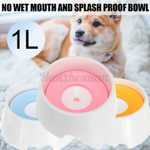1L Non Spill Pet Dog Cat Slow Water Bowl Feeding Portable Outdoor Travel ~