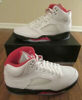 Nike Air Jordan 5 Retro Size 11.5 True White Fire Red Black DA1911 102 New NIB