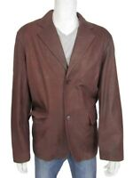 New Two Button Blazer Rust Nubuck Napa Classic Leather Button Jacket