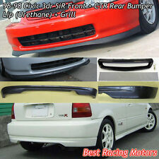 SIR Style Front Lip (PU) + CTR Rear Lip (PU) + Grill (Mesh) Fit 96-98 Civic 3dr
