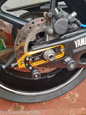 Yamaha YZF R1 2007-2008 CNC Ajustador de cadena con la bobina de paddock de oro negro R13B1