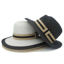 Women Men Straw Wide Brim Panama Fedora Hat Queen Summer Beach Seaside Sun  Hat f3014956b3eb