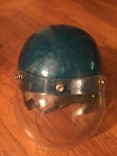 1970s Buco Bobber Chopper International Motorcycle Helmet Blue Metalflake