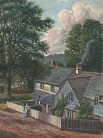VICTORIAN LADY COUNTRY COTTAGE Antique Watercolour Painting c1890