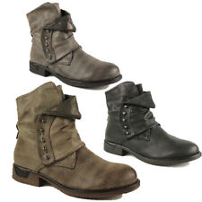 WOMENS LADIES CASUAL MILITARY COMBAT SLOUCH ARMY BIKER ANKLE BOOTS SIZE 3-8
