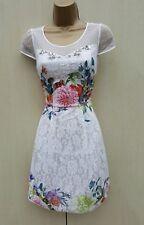 KAREN MILLEN WHITE Floral Lace Beaded Cocktail Summer Holiday DRESS SZ-8