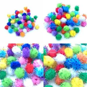 POM POMS GLITTER 10mm or 15mm Mixed Colours School Cardmaking Crafts Supplies