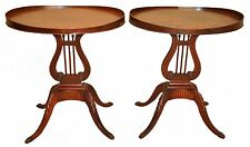 Pair of Oval Mahogany Side, End Tables with Lyre Bases by Mersman, c.1940's