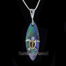 Hawaiian Jewelry Sterling Silver Abalone Surfboard Honu Turtle Pendant 2T