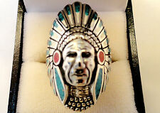 SOLID Indian CHIEF Biker Men's Turquoise Headdress Tribe HEAVY $450 RING 9