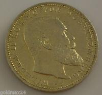 3 Mark Silbermünze dt. Kaiserreich 1914 F - Wilhelm II. König v. Württemberg