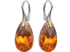 Sterling Silver 925 Earrings made with Swarovski Crystals Pear 22mm - 40 colors