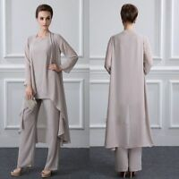 Mother of the Bride Pants Suits Jackets 3 Pieces Chiffon Long Sleeves Plus Size