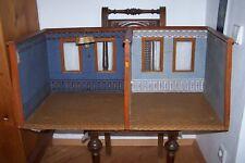 Zweiraum Puppenstube mit Glasfenstern, Original Tapete und Fussboden um 1900
