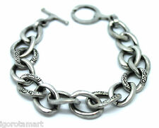 Homme acier inoxydable argent en relief design Curb Link Chain Bracelet Bangle