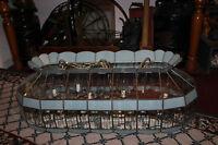 Vintage Beveled Glass Hanging Chandelier-2 Lamp 10 Lights-LARGE-Baby Blue