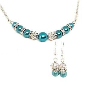 Glass pearl necklace earrings jewellery set
