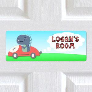 Personalised Any Name METAL Dinosaur Racer Boys Bedroom Door Sign Plaque. Kids