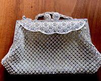 Vintage Ladies SILVER FILIGREE Claw Set Paste Encrusted Hand Evening Purse Bag