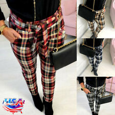 2fa5268baff965 Women Tartan Plaid High Waist Trousers Ladies Checked Slim Fit Long Pencil  Pants