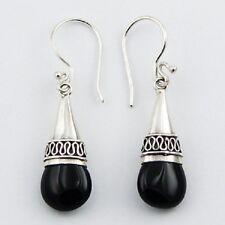 Handmade earrings black agate gemstone bali style 925 silver hook drop 37mm