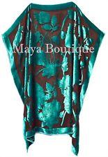 Caftan Dress Kimono Silk Burnout Velvet Teal Black Hand Dyed Maya Matazaro