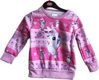 Unicorn & Snowflakes Pink Christmas Jumper Kids Childrens Sweatshirt Xmas Girls