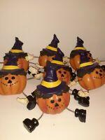 vintage halloween jacko lantern scare crow plastic string light covers 8x5 read