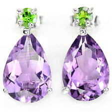 Sterling Silver Genuine Purple Amethyst and Green Chrome Diopside Earrings