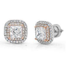 2.52ct Princess Round Halo Created White Sapphire Stud Earrings 14k 2 tone Gold