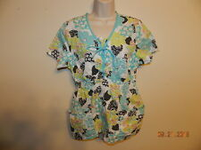 Skechers medical scrubs woman's S/S pullover top L EUC Black Lime Pink Blue